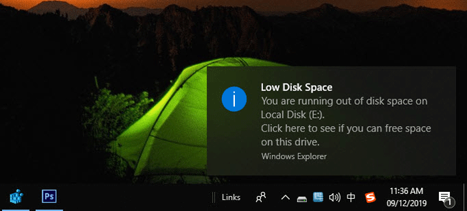 disable low disk space warning