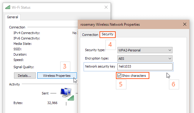 Show characters checkbox in Wireless Network Properties