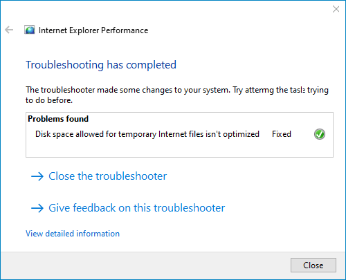 troubleshooter was fixed successfully