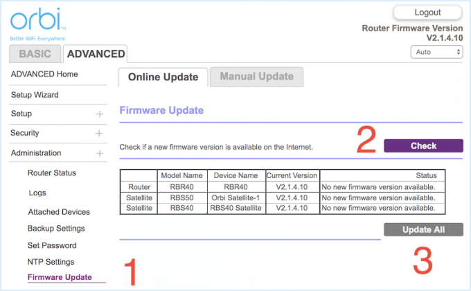 Update firmware in router's settings