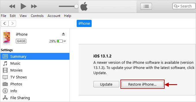 click Restore iPhone
