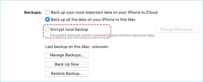 Make iPhone backup
