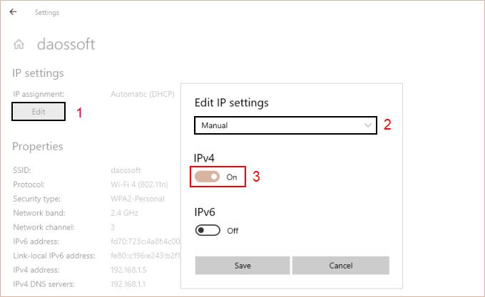 Select the Manual in the Edit IP settings drop menu