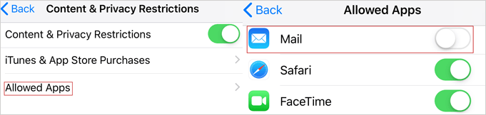 tap on Mail option