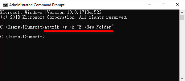 hide files and folders with command