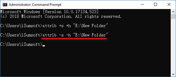 unhide file with command