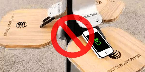 Не используйте общественные зарядные сваи