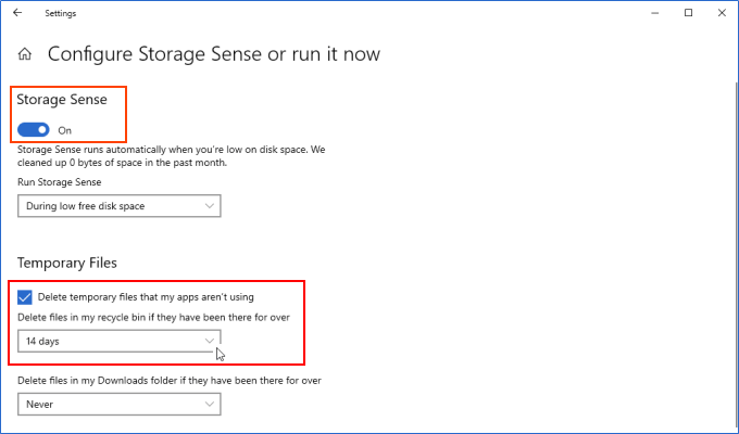 Configure Storage Sense