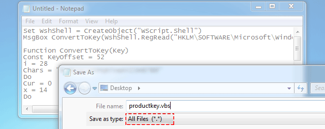 Find Windows product key using script