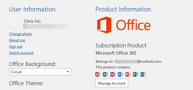 Belongs to Microsoft account