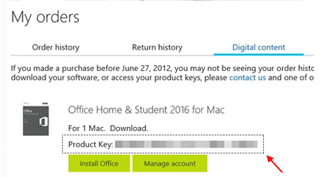 Find your product key on Order History