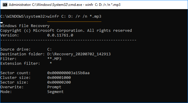 Recover deleted file with Segment mode
