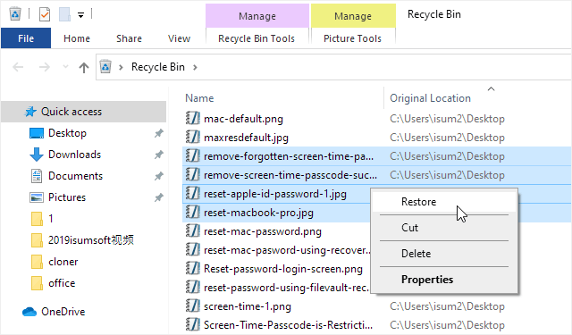 Restore deleted files from Recycle Bin