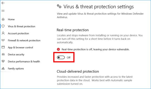 Apague temporalmente el antivirus de Windows Defender