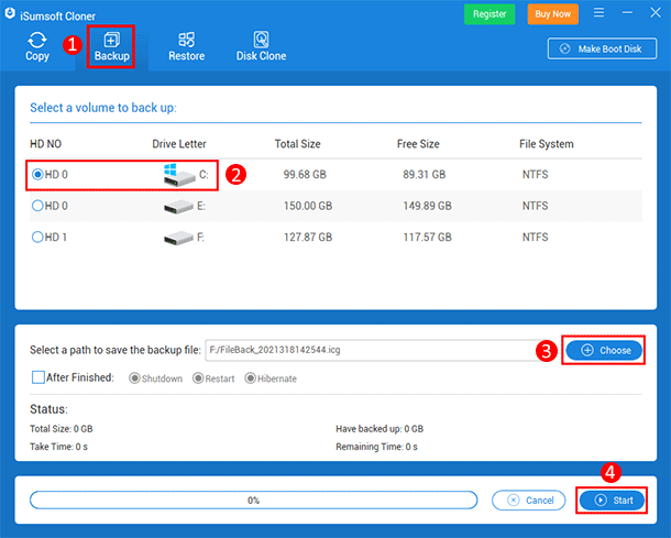 choose Backup option