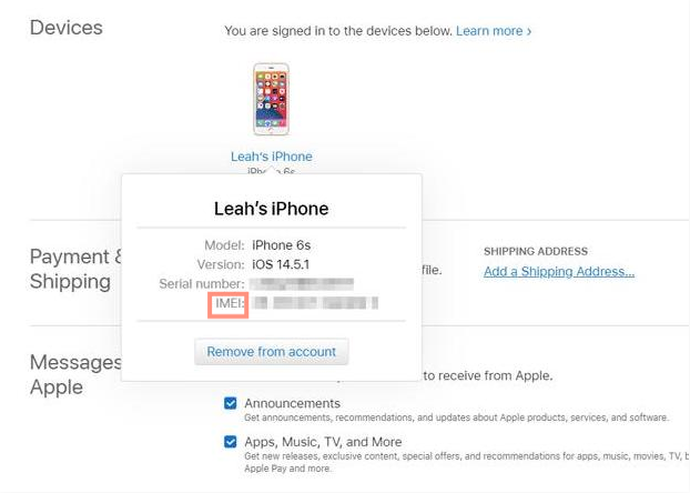 Locate your devices section